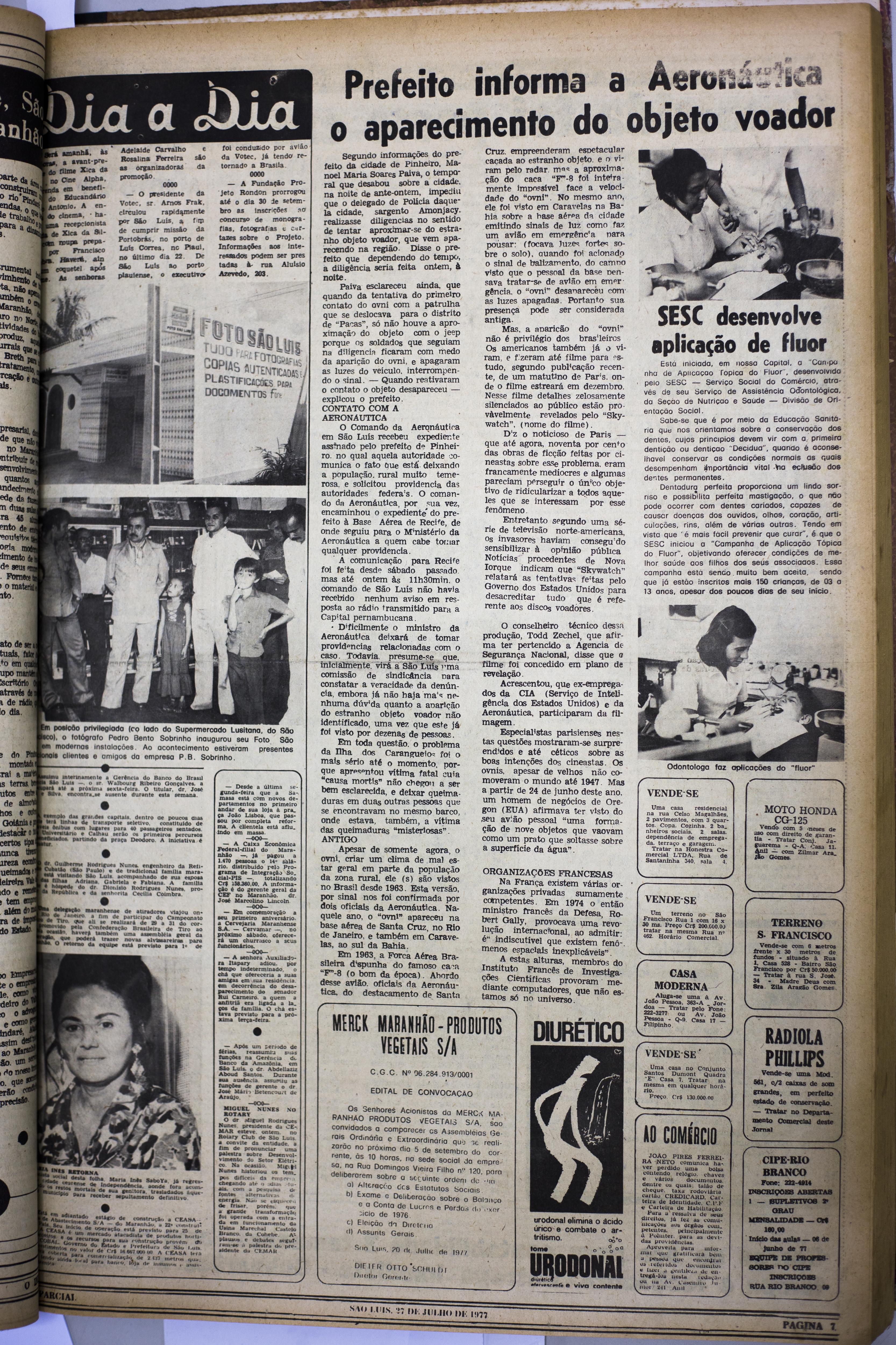 1418567e6f J- Jornal O Imparcial – 27 07 1977 – pg 07 – Prefeito informa a Aeronáutica  o aparecimento do objeto voador